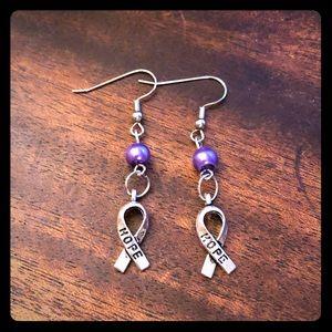Purple Pearl Beaded Hope Ribbon Earrings